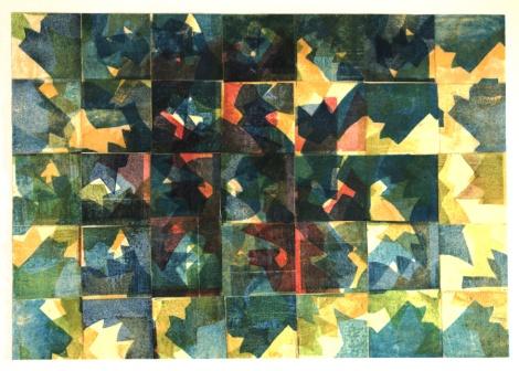 Collage aus Farbholzschnitten  mit Schellack  24x34 cm 2015