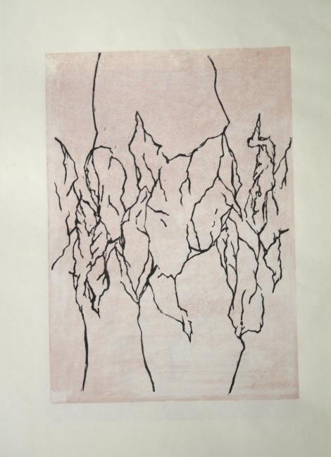 Blattwerk 1 Holzschnitt (Moku Hanga) ca. 21x29cm 2017